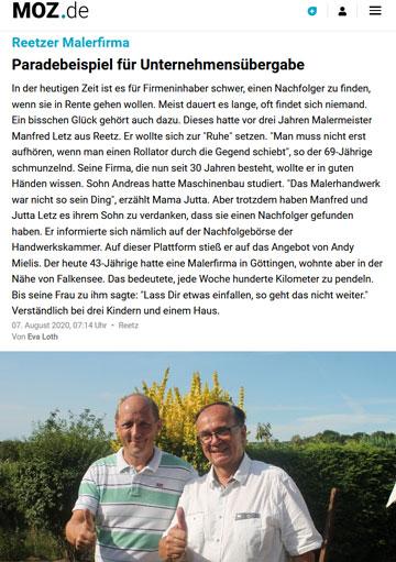Presseartikel - Maler Letz - MOZ